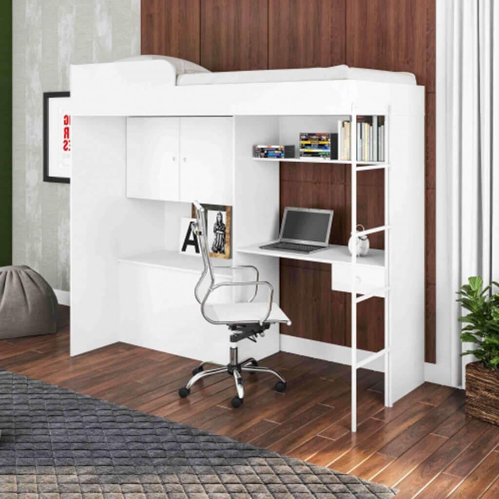 Cama De Solteiro Alta Com Escrivaninha Multifuncional Branco Lilies Moveis