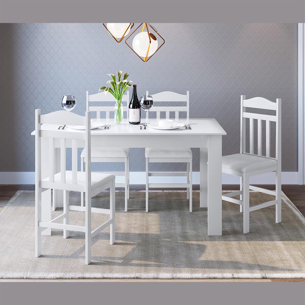 Conjunto Mesa Cozinha Com 4 Cadeiras Branco Lilies Moveis Lilies Moveis