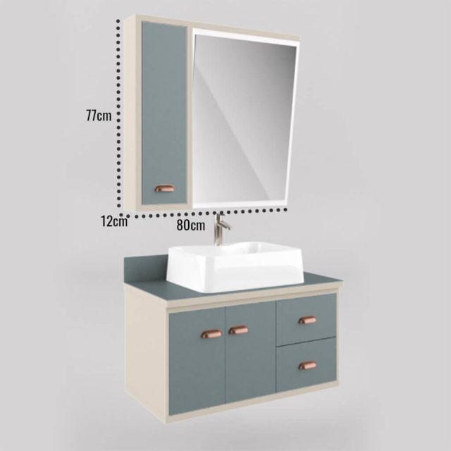 Gabinete para Banheiro 80cm Detalhe na Espelheira Branco e