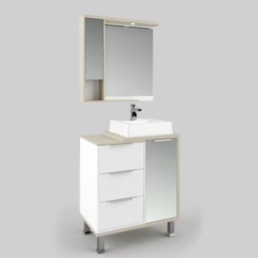 Espelheira Banheiro 80cm Inclinada Nude Berilo