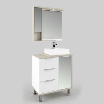 Espelheira para Banheiro 65cm 2 Portas Palermo Lilies
