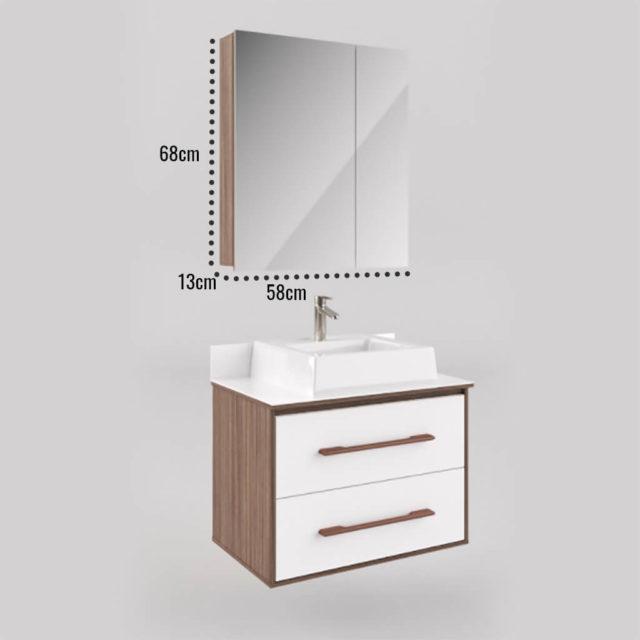 Espelheira Banheiro 80cm Inclinada Nude e Taupe